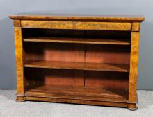 A 19th Century figured mahogany dwarf open front bookcase with square edge