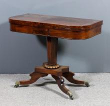 A George IV mahogany D-shaped tea table with plain folding top, on octagona