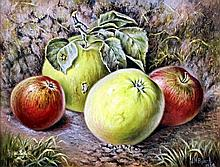 Joseph Henry Bayrd (19th/20th Century) - Oil painting - Still life with apples, canvas, 7ins x 9ins,