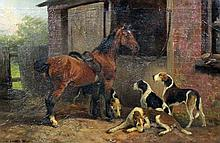 Joseph Henry Sharp (1859-1953) - Oil painting - Study of a horse and beagles, canvas 20ins x 30ins,