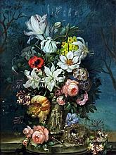 19th Century School - Reverse painting on glass - Still life with a vase of flowers, 24ins x 18ins,