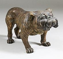 A late 19th / early 20th Century Austrian cold painted bronze figure of a standing bulldog probably