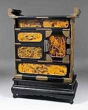 A Japanese faux tortoise-shell lacquer table