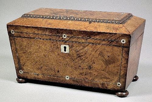 A George III burrwood rectangular tea caddy of