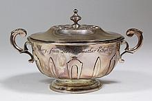 A Victorian silver circular two-handled porringer