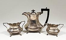 An Edward VIII silver oval three piece part tea