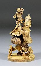 A fine Japanese carved ivory figure of Jurojin