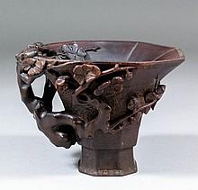 A Chinese rhinoceros horn octagonal