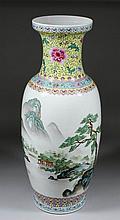 A Chinese porcelain baluster shaped vase enamelled