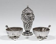 A pair of Victorian silver circular salts with ree