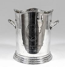 A Louis Roederer two-handled silver plated champag