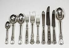 A plated Kings pattern table service for eight pla