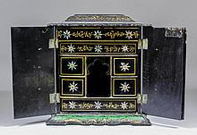 A Victorian black lacquer, mother of pearl and gil