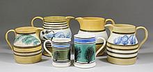 Five 19th Century Mocha ware pottery jugs of vario