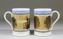 Two matching 19th Century Mocha ware pottery tanka