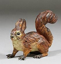 A good cold painted bronze figure of a red squirre
