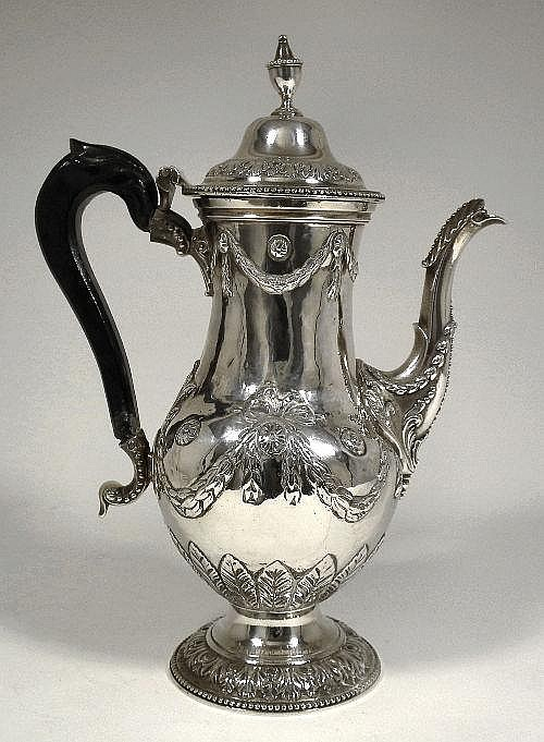 A George III silver coffee pot, the baluster