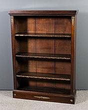 A late Victorian mahogany open front bookcase with