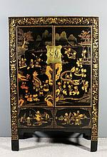 A Chinese black lacquer cabinet, fitted shelf encl