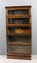 A Globe Wernicke oak five tier sectional bookcase,