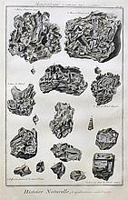 Eight engravings of minerals from Encyclopedie by