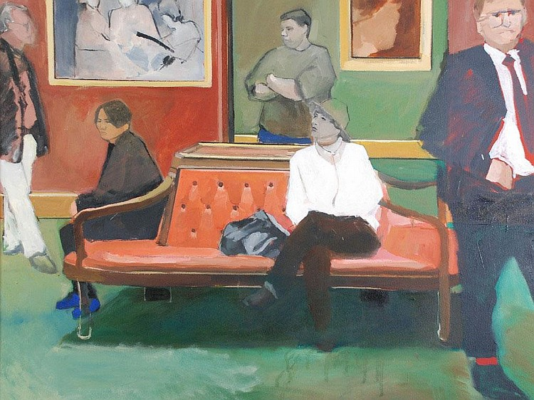 SARAH McCONKEY OIL PAINTING ON CANVAS 'The Bench