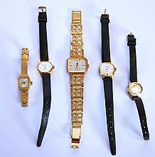 LADY'S NIVADA SWISS GOLD PLATED BRACELET WATCH, with 17 jewel movement, 2 LADY'S LIMIT SWISS GOLD PLATED WRIST WATCHES, with 17 jewel incabloc movements, black leather straps, silver BULER WRIST WATCH AND AN ORIOSA INTERNATIONAL GOLD PLATED BRACELET