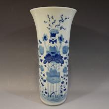 ANTIQUE CHINESE BLUE WHITE PORCELAIN BEAKER VASE -18/19TH CENTURY