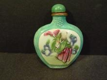 ANTIQUE CHINESE FAMILLE ROSE PORCELAIN SNUFF BOTTLE 19TH CENTURY