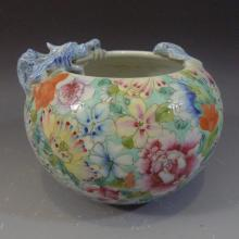ANTIQUE CHINESE FAMILLE ROSE PORCELAIN WATER COUPE REPUBLIC PERIOD