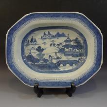 LARGE ANTIQUE CHINESE BLUE WHITE PORCELAIN PLATTER - 19TH CENTURY