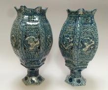A PAIR OF CHINESE ANTIQUE  BLUE AND WHITE ?DRAGON? LANTERNS AND STANDS  QING DYNASTY