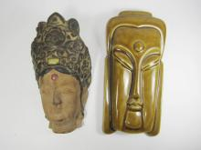TWO CHINESE PORCELAIN WALL HANGING MASKS