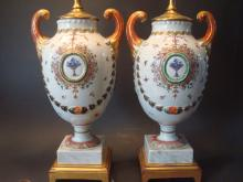 ANTIQUE Pair Chinese Famille Rose Urn Vase Lamps, 18th Century