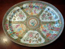 ANTIQUE Chinese Rose Medallion Platter, 18 1/2
