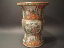 ANTIQUE Chinese Rose Medallion GU vase, 12 1/2