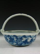Chinese Imperial Blue and White Porcelain Basket,