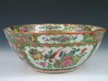 Chinese Rose Medallion Porcelain Punch Bowl Late 19th C