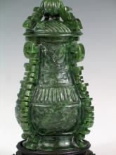Chinese Carved Spinach Jade Vase with Lid
