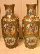 Pair of Large Chinese Rose Medallion Porcelain Vases.
