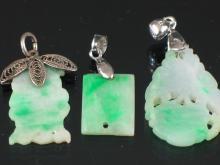 Three Natural jadeite Pendants