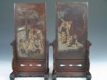 Pair of Very Rare Chinese Mother-of-Pearl Inlaid