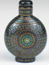Chinese Snuff Bottle with Mother-of-Pearl Inlaid Decoration, 19th Century.