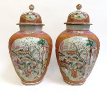 PAIR LARGE CHINESE EXPORT ROSE MEDALLION LIDDED VASES