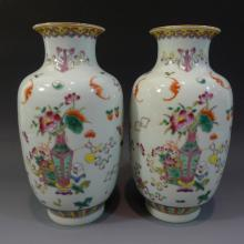 PAIR ANTIQUE CHINESE FAMILLE ROSE PORCELAIN VASE GUANGXU