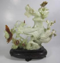 FINE CHINESE JADE CARVING WITH WOODEN BASE