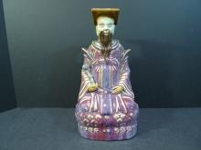 ANTIQUE CHINESE FLAMBE PORCELAIN DAOIST DEITY FIGURE