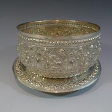 ANTIQUE THAI STERLING SILVER BOWL AND TRY
