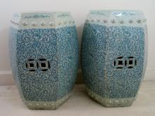 Pair of Antique Chinese Blue and White Porcelain Garden