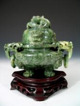 Chinese Carved Jade Incense Burner with Wood Stand